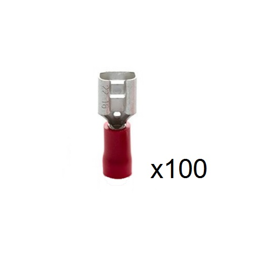 1.5mm² Insulated Red Female Crimp/Spade Push-On Connector 6.3mm RF6608VR