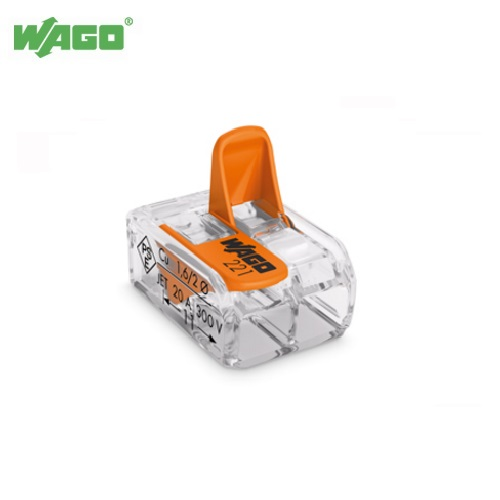 32A 2 Way WAGO Transparent Splicing Connector 0.2mm-4.0mm² 221-412 Wago 221412