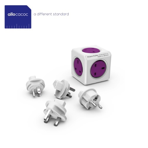 PowerCube ReWirable Travel Plugs C/W 4 Power Outlest & 2x USB Ports (Purple,UK) 1850/UKRU4P