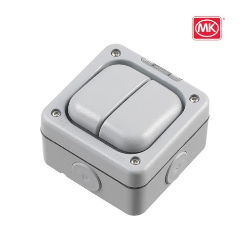 2 Gang 1 Way 10A Waterproof Switch SP IP66 MK 56402 GRY