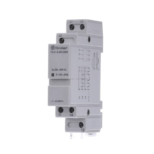 Finder 70.61.8.400.0000 Phase Failure Relay 208-480v AC 6A Din Rail Mount 70618400000