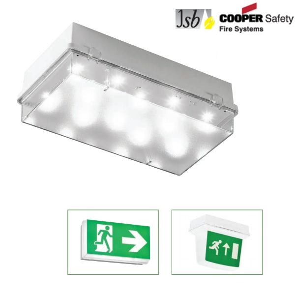 JSB Zetalite 3 LED Emergency Bulkhead Bricklight Non Maintained/Maintained IP65 ZEL3ICEL ZEL3ICEL