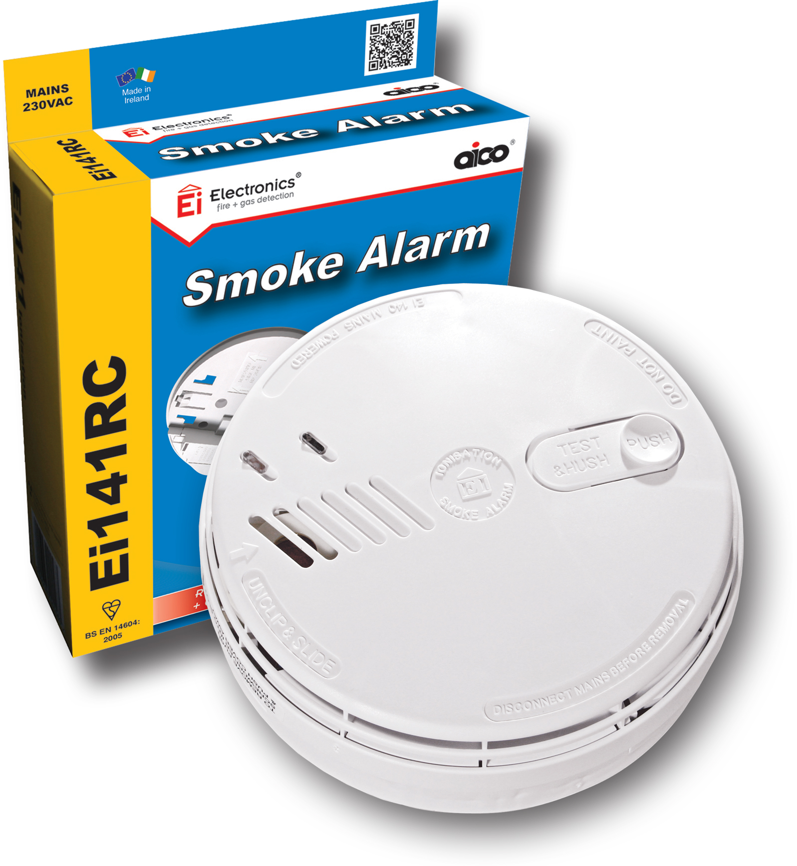 Ei141RC Ionisation Smoke Detector Mains Powered 9V Alkaline Battery Back-Up (Replaceable)
