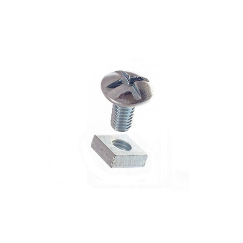 M6 X 12mm Roofing Bolt C/W Square Nut BZP Zinc Plated (Box of 200) 0612RB