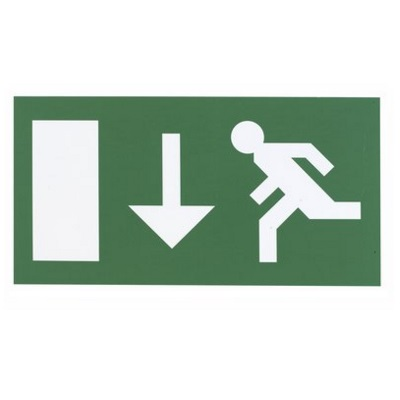 Menvier Exit Sign Double Sided Arrow Down Legend LUCAD