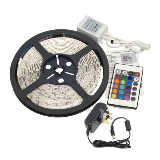 12V DC 5M Safety SMD 5050 RGB LED Strip Combo Controller & Driver QFX5RGBKIT
