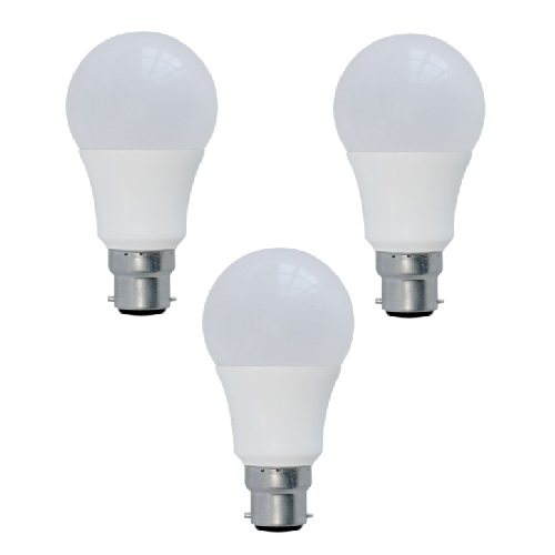 3Pk 10W LED A60/GLS B22 Frosted Lamps 2700K Dimmable (=58W) EVO Light-EVO01013