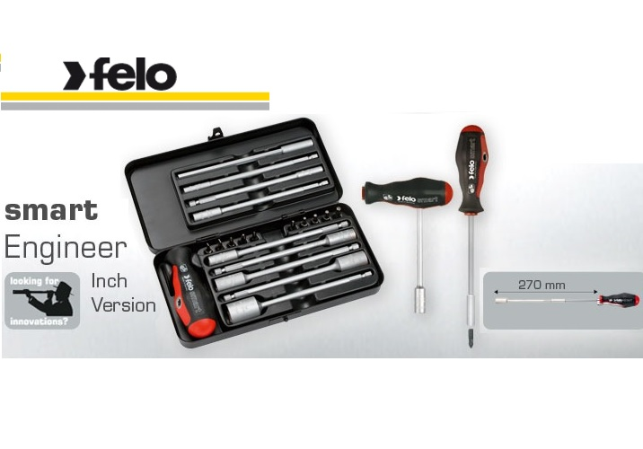 Felo 20 Piece SMART Engineer Box Inch version, Screwdriver & T-Handle in one (Slot, Phillips, Pozidriv, Torx®, Nut Driver) 060 920 36