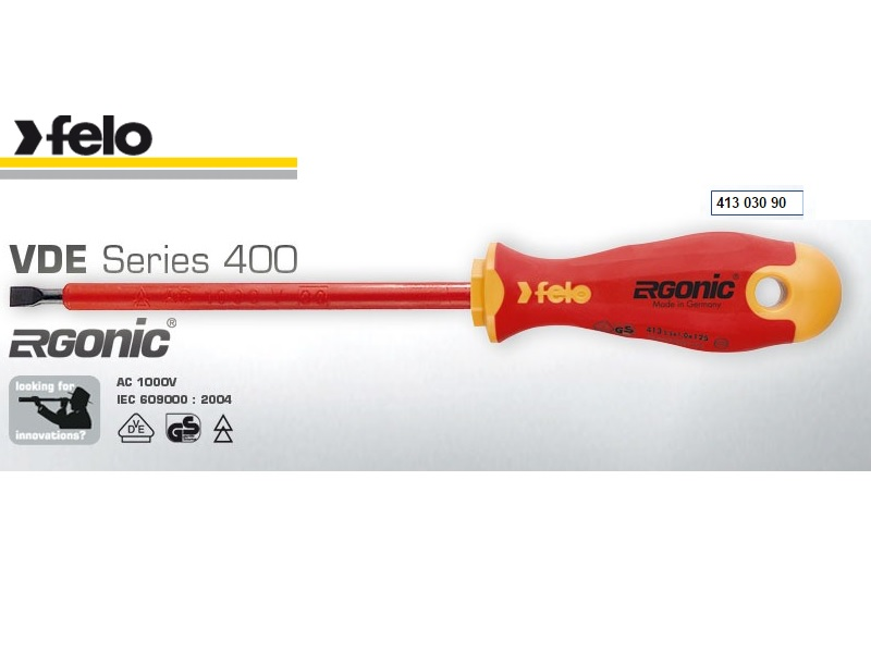 Felo Flat Head 2.5 X 0.4 X 75 Soft Handle Screwdriver Series 413 Ergonic 41302590