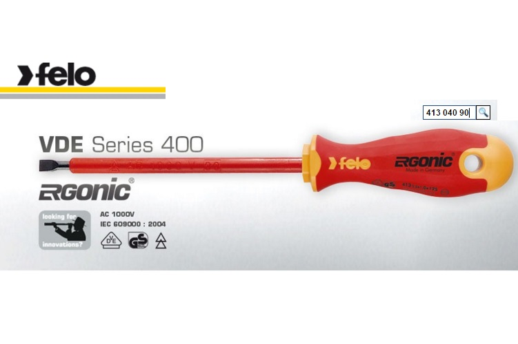 Felo Flat Head 4.0 X 0.8 X 100 Soft Handle Screwdriver Series 413 Ergonic 413 040 90