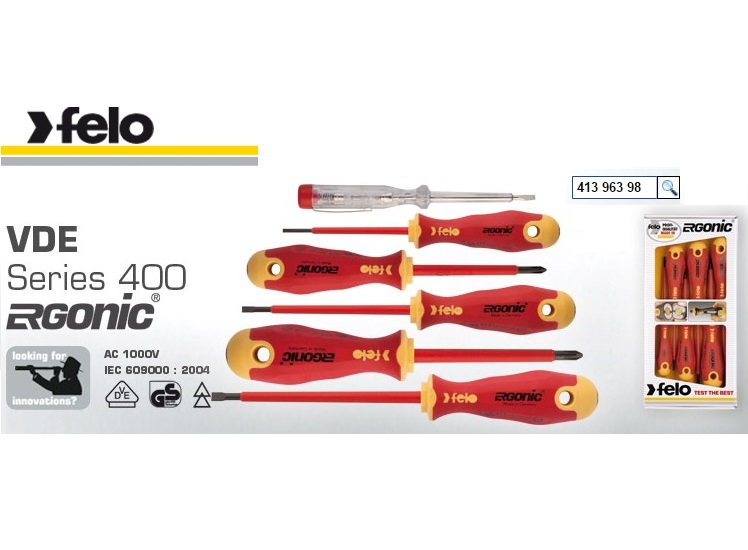 Felo Series 400 6 Piece Screwdriver Set Slot / Phillips 413 963 98