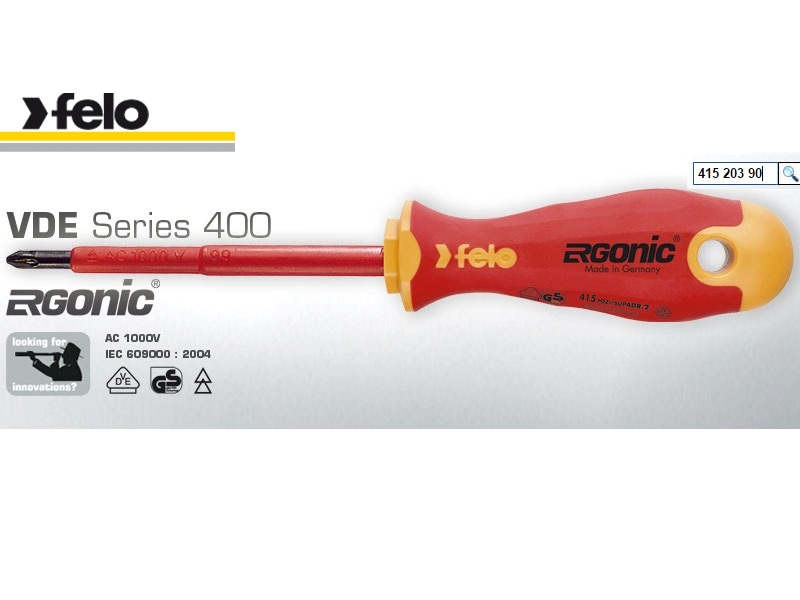 Felo Series 400 Pozidriv Screwdriver PZ 2 X 100 | 415 203 90