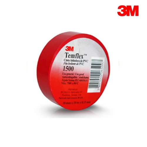 3M Temflex 1500 RED PVC Electrical Insulation Tape 20m Roll (19mm x 0.15mm)