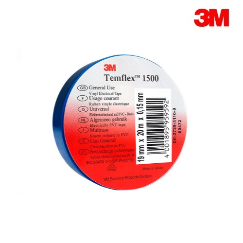 3M Temflex 1500 BLUE PVC Electrical Insulation Tape 20m Roll (19mm x 0.15mm)