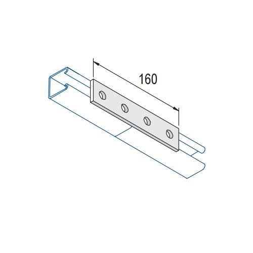 unsitrut 4 hole flate plate connector bracket  splice 160mm x 41mm p1067