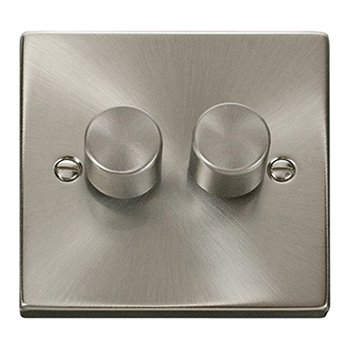 Click Deco 2 Gang 2 Way 400W Satin Chrome Dimmer VPSC152