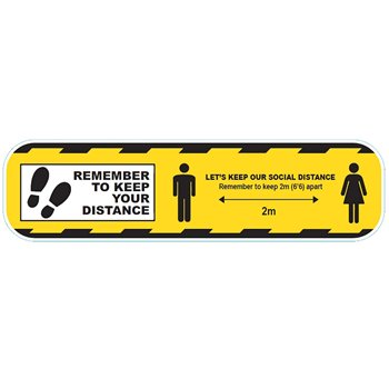 Social Distance Floor Sticker Yellow 600mm Perm-Adhesive CVSDY