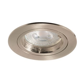 50w Fixed Downlight Brushed Steel Lock Ring GU10 Die Cast Luceco EDLGUFBS
