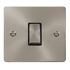 1 Gang 2 Way 10A Click Switch Brushed Stainless Steel FPBS411BK