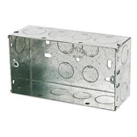 2 Gang 47mm Galvanised Flush Box C/W Knockouts DB168