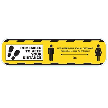 Social Distance Floor Sticker Yellow 300mm Perm-Adhesive CVSDSY