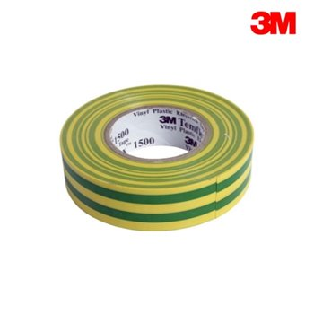 3M Temflex 1500 Green/Yellow EARTH PVC Electrical Insulation Tape 20m Roll (19mm x 0.15mm)
