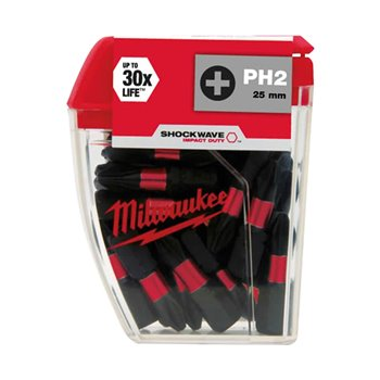Milwaukee Shockwave Impact 25 x PZ2 Drill Bits 25mm 4932399590