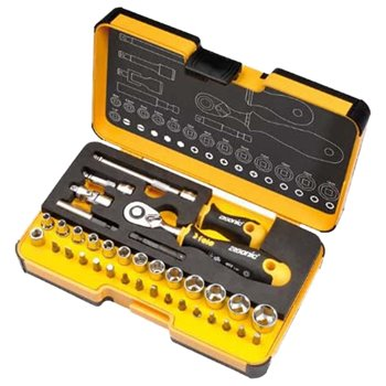 "Felo R-GO XL Box 1/4"" Ergonic Ratchet 36 Piece Socket Set 