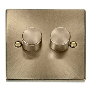 Click Deco 2 Gang 2 Way 400W Dimmer Antique Brass