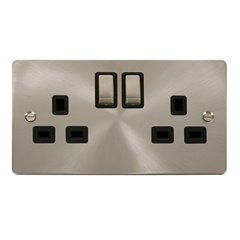 2 Gang Click 13A Switched Socket Brushed Stainless Steel FPBS536BK