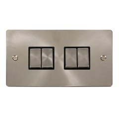 6 Gang 2 Way 10A Switch Click Brushed Stainless Steel FPBS416BK