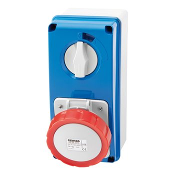 Gewiss 5 Pin Vertical Interlock Socket Outlet with Bottom 32A 400V GW66220N