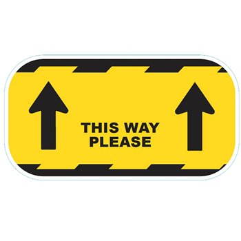 This Way Please Floor Sticker Yellow 300mm Perm-Adhesive CVTWY