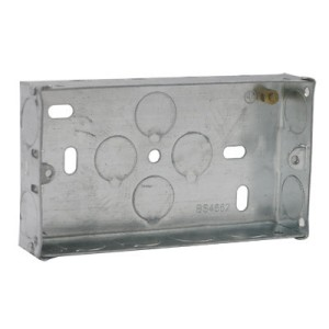 2 Gang 35mm Steel Flush Box C/W 20mm Knockouts DB165