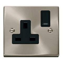 1 Gang Satin Chrome 13A DP Switched Socket Click Deco VPSC035BK